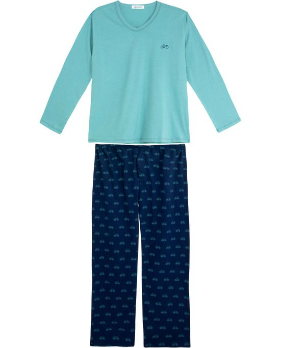 Pijama-Plus-Size-Masculino-Lua-Cheia-Longo-Bike