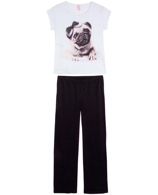 Pijama-Feminino-Lua-Encantada-Curto-Malha-Bulldog