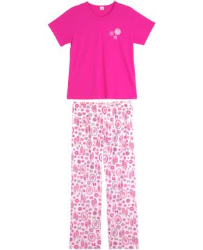Pijama-Feminino-Compose-Longo-Flores-Sapatilhas