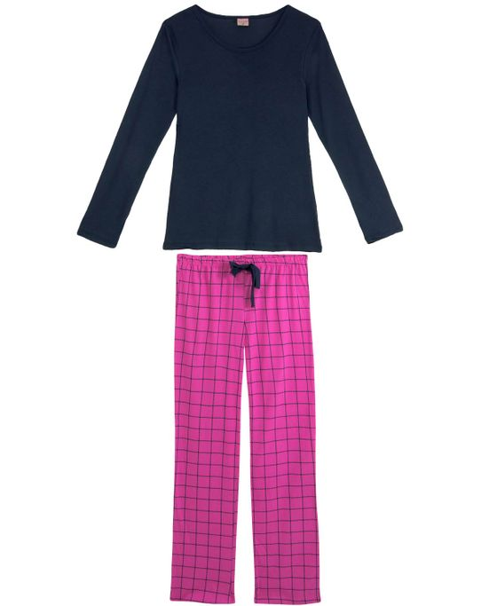 Pijama-Feminino-Lua-Encantada-Calca-Xadrez