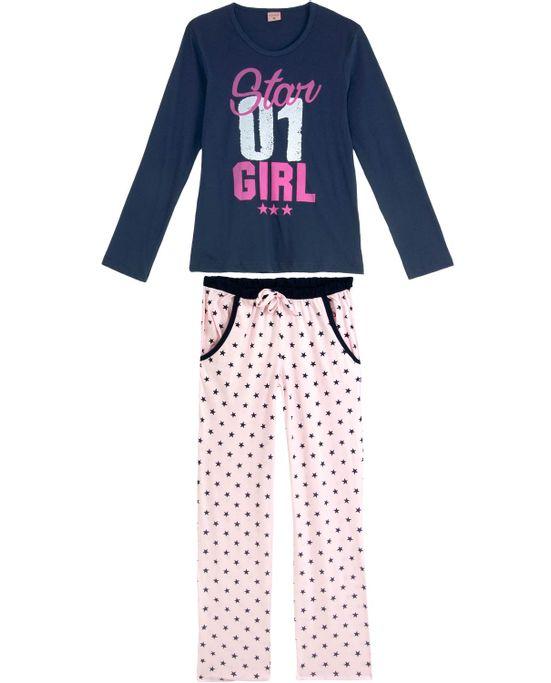 Pijama-Feminino-Lua-Encantada-Longo-Star-Girl