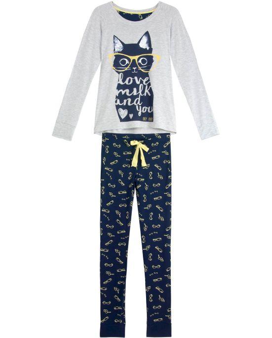 Pijama-Feminino-Any-Any-Longo-Viscolycra-Gato