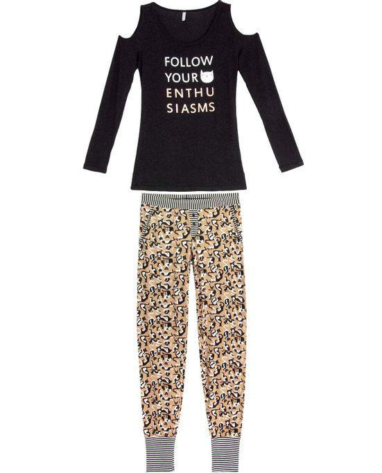 Pijama-Feminino-Joge-Longo-Recorte-Ombro-Gatos