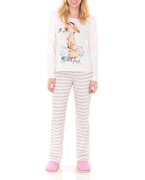 Pijama-Feminino-Lua-Encantada-Longo-Raposa