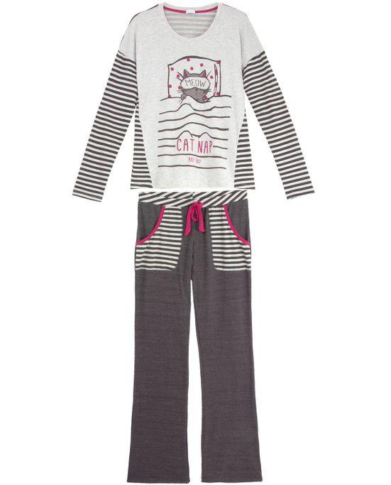 Pijama-Feminino-Any-Any-Longo-Listras-Gato