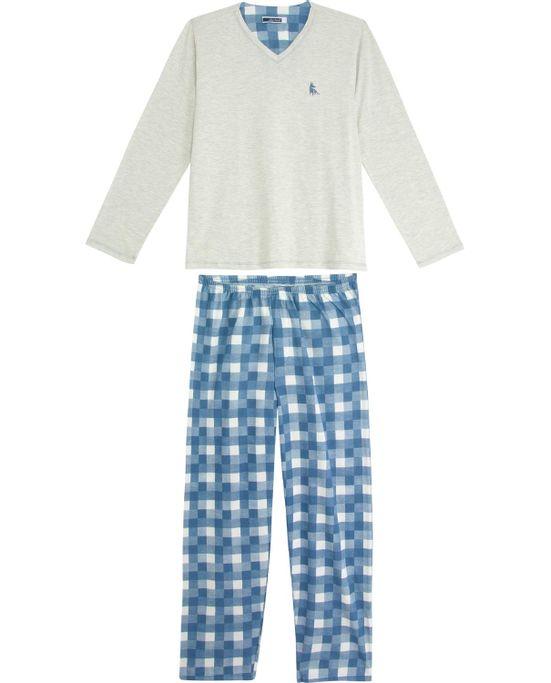 Pijama-Masculino-Lua-Cheia-Calca-Xadrez-Aflanelada