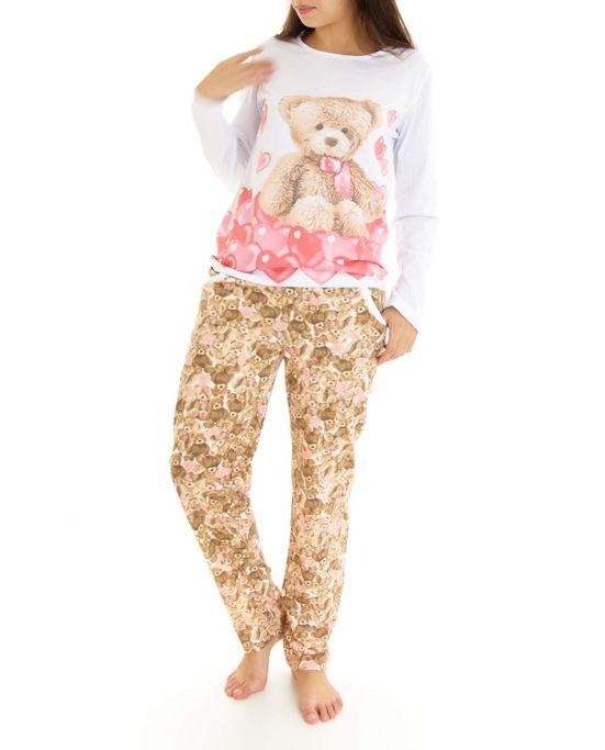 Pijama-Feminino-Lua-Cheia-Longo-Urso-Coracoes