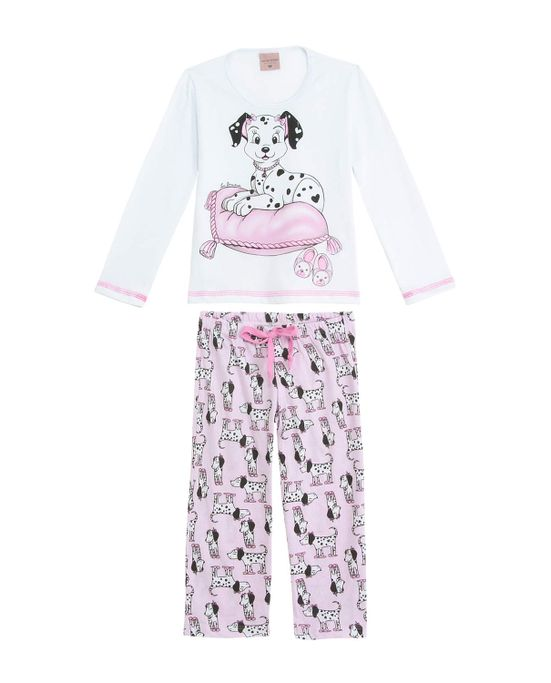 Pijama-Infantil-Feminino-Lua-Encantada-Longo-Dalmata
