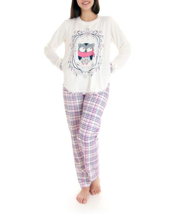 Pijama-Feminino-Lua-Cheia-Longo-Flanelado-Coruja