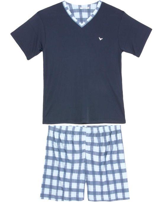 Pijama-Masculino-Podiun-Curto-Microfibra-Xadrez