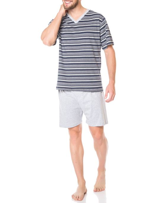 Pijama-Masculino-Podiun-Curto-100--Algodao-Listras