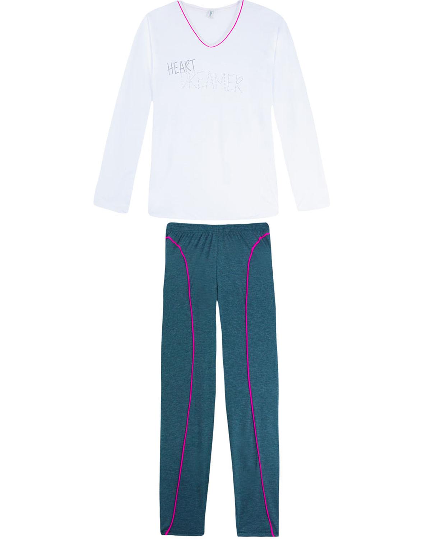 35ace4fe2 Pijama Plus Size Feminino Laibel Frase Strass - Branco