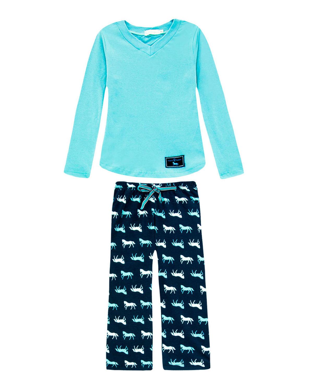 627b5b04098daa Pijama Infantil Feminino Daniela Tombini Calça Cavalo - Verde ...
