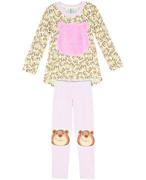 Pijama Infantil Feminino Longo Urso Peluciado