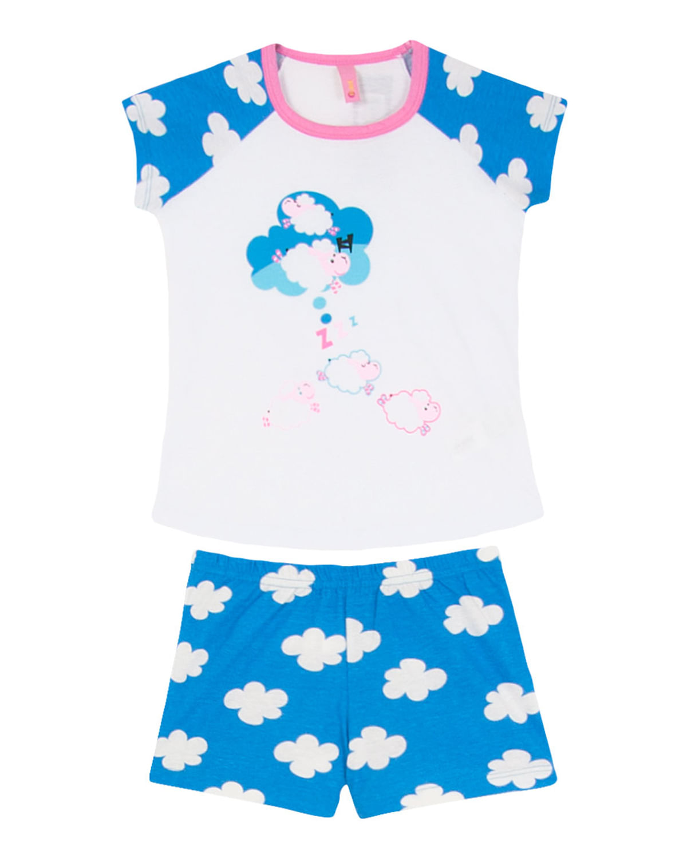 4040138e2 Short Doll Infantil Puket Manga Curta Ovelha Nuvens - Azul