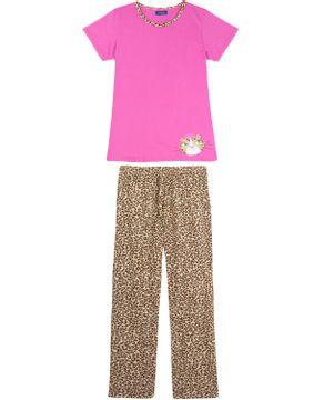 Pijama-Feminino-Puket-Manga-Curta-Calca-Onca
