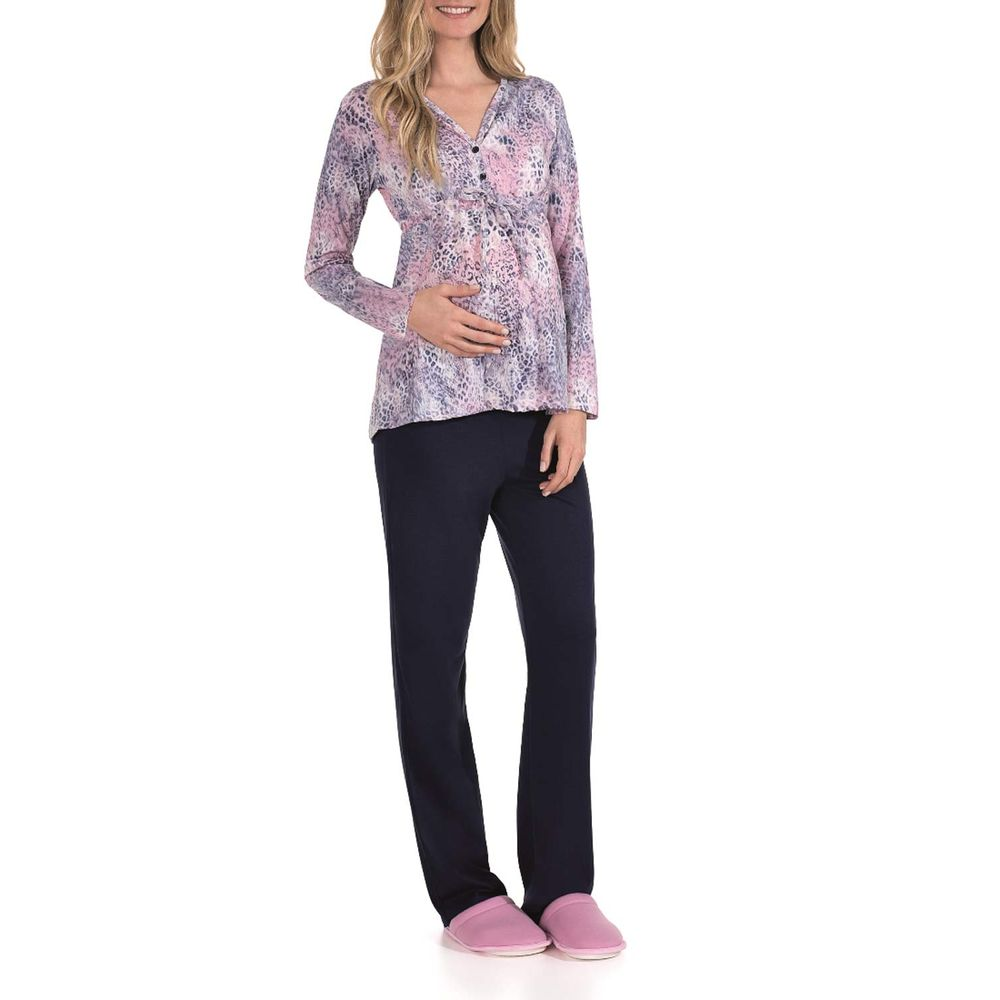 Pijama-Feminino-Lua-Encantada-Longo-Aberto-Onca