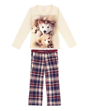 Pijama Infantil Feminino Lua Encantada Longo Malha