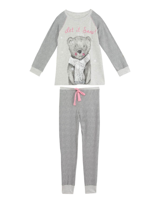 5110389b4 Pijama Infantil Feminino Any Any Longo Urso R  129.00 ou 2x de R  64.50