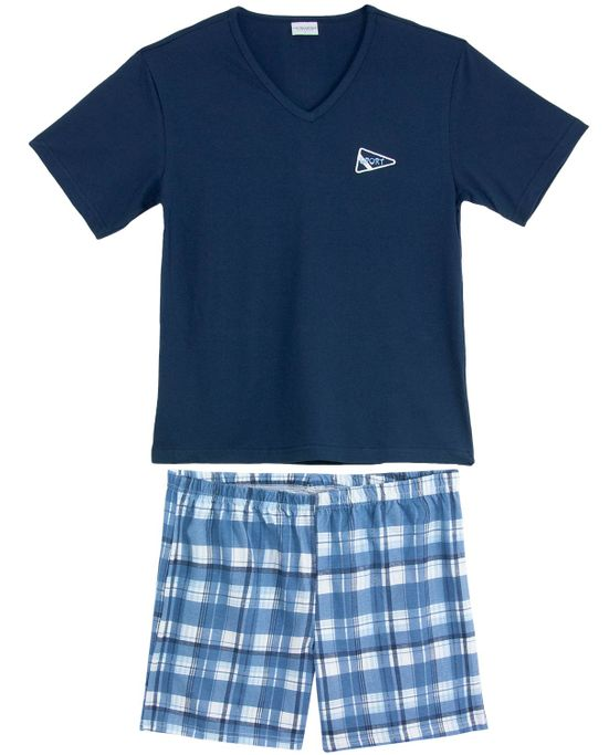 Pijama-Masculino-Lua-Encantada-Curto-Xadrez