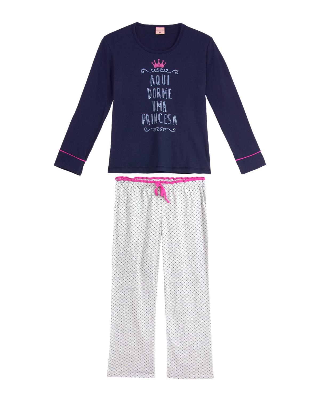 57cb8246eb6222 Pijama Infantil Feminino Lua Encantada Longo Princesa | Pijama ...