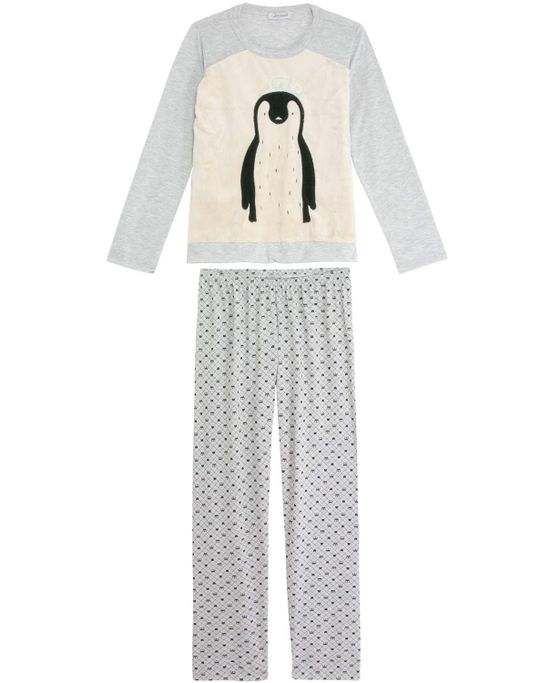 Pijama-Feminino-Lua-Cheia-Longo-Pinguim-Peluciado