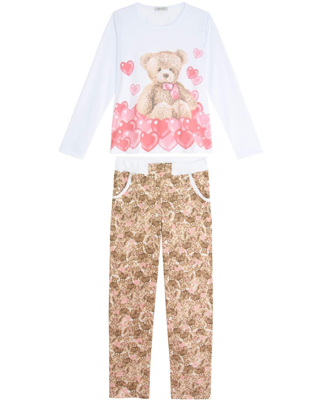 f981029a1 Pijama-Feminino-Lua-Cheia-Longo-Urso-Coracoes ...