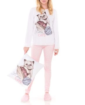 Pijama-Feminino-Lua-Encantada-Longo-Gato