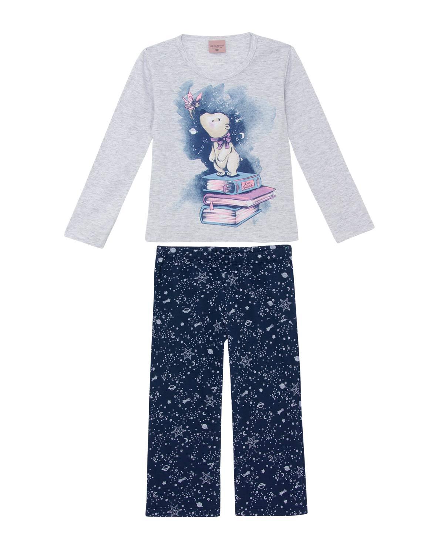 05ba014a9edb48 Pijama Infantil Feminino Lua Encantada Longo Urso   Pijama Online ...