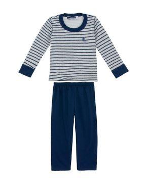 Pijama Infantil Masculino Lua Cheia Flanelado Listras