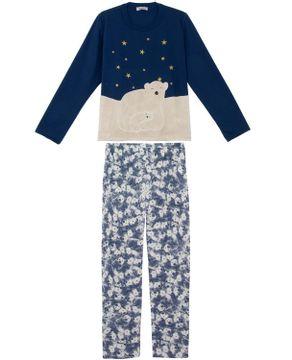 Pijama-Feminino-Lua-Cheia-Longo-Urso-Polar-Peluciado