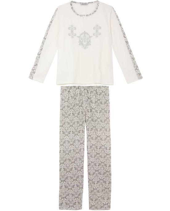 Pijama-Plus-Size-Feminino-Lua-Cheia-Longo-Flanelado