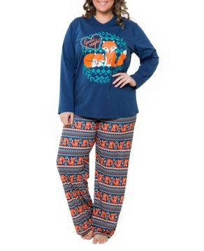 Pijama-Plus-Size-Feminino-Recco-Algodao-Raposa