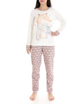 Pijama-Feminino-Lua-Cheia-Longo-Flanelado-Raposa