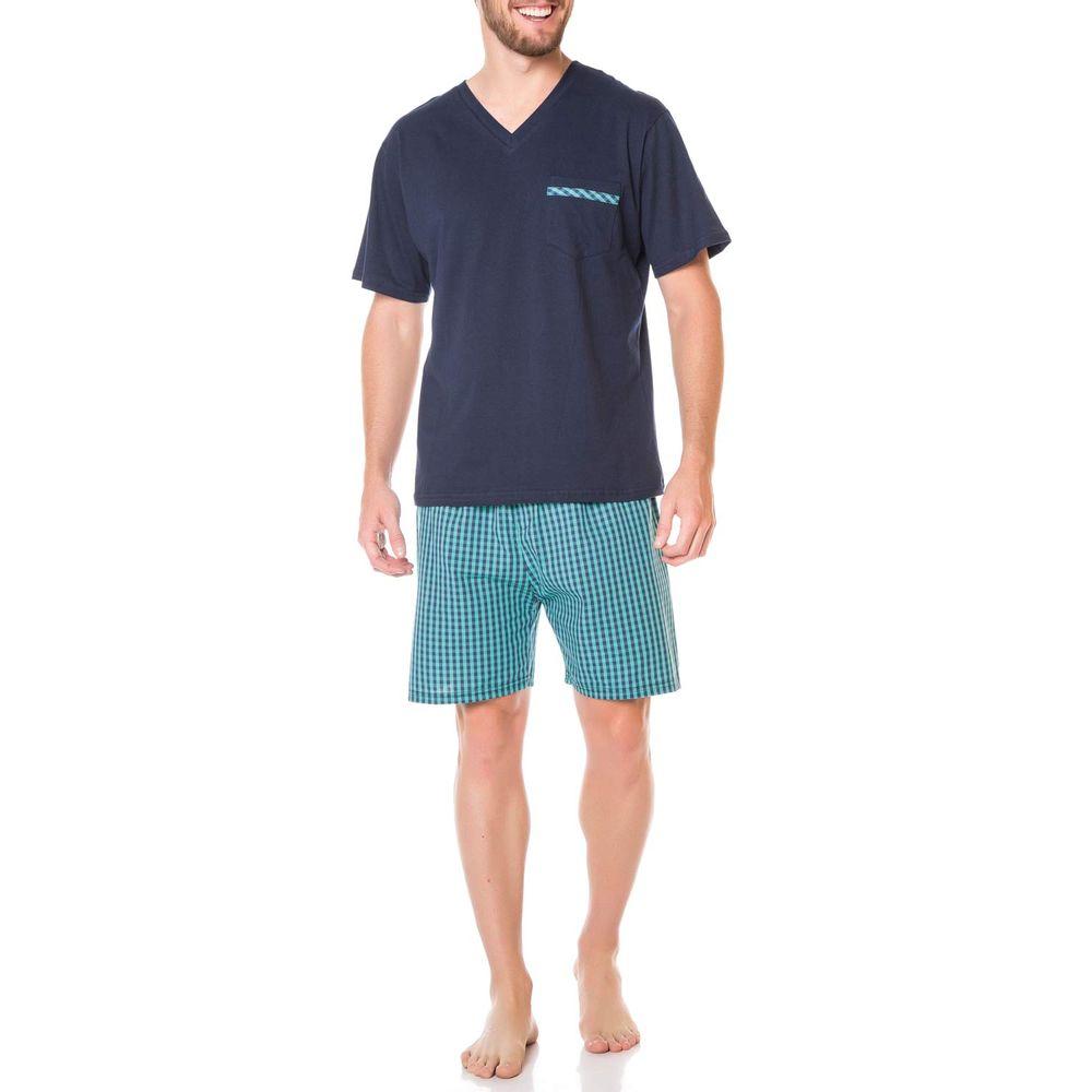 Pijama-Masculino-Podiun-Curto-Algodao-Xadrez