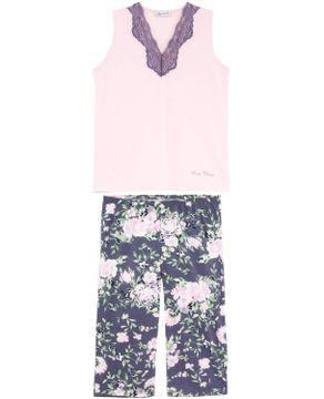Pijama-Feminino-Lua-Cheia-Regata-Pescador-Floral