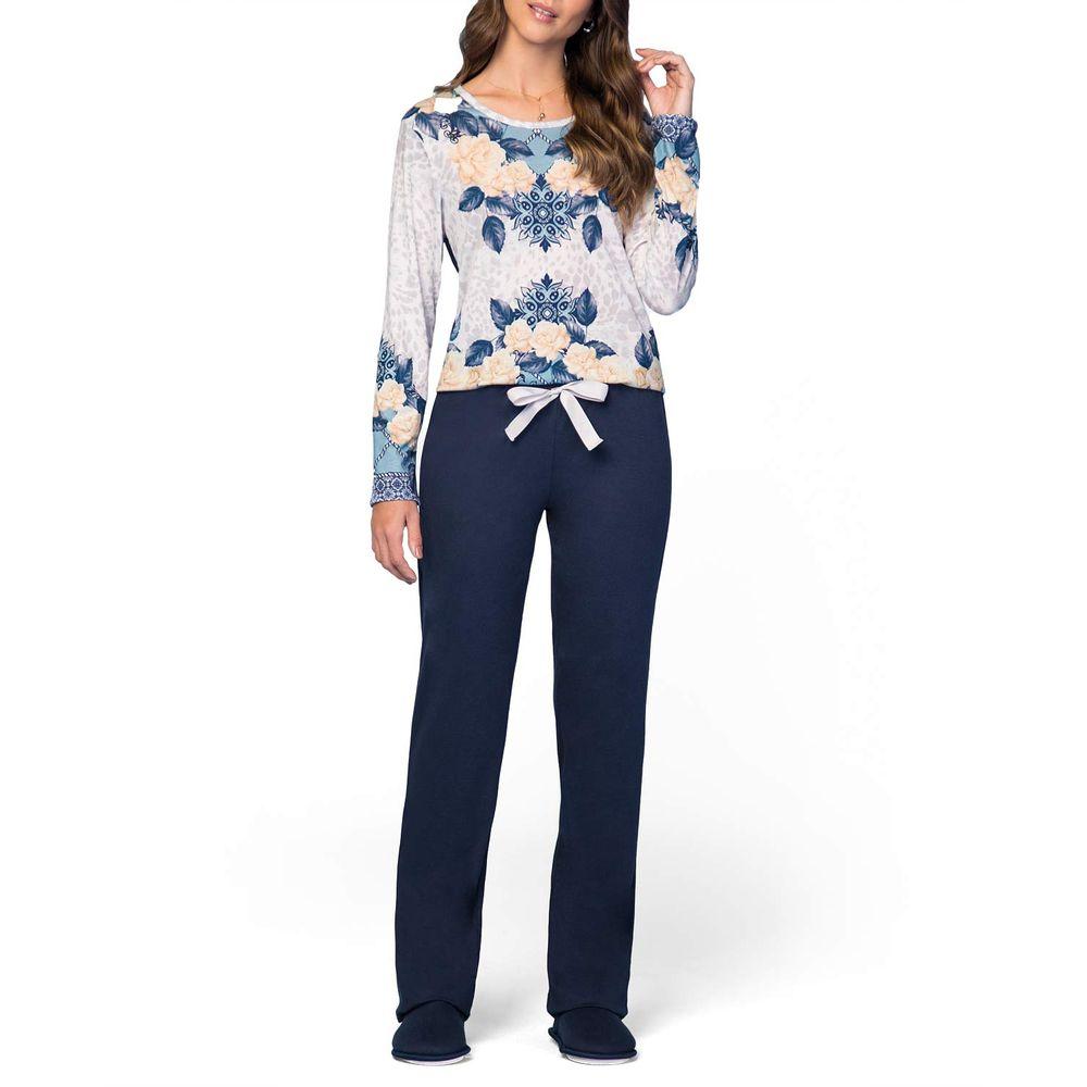 Pijama-Feminino-Lua-Encantada-Longo-Floral