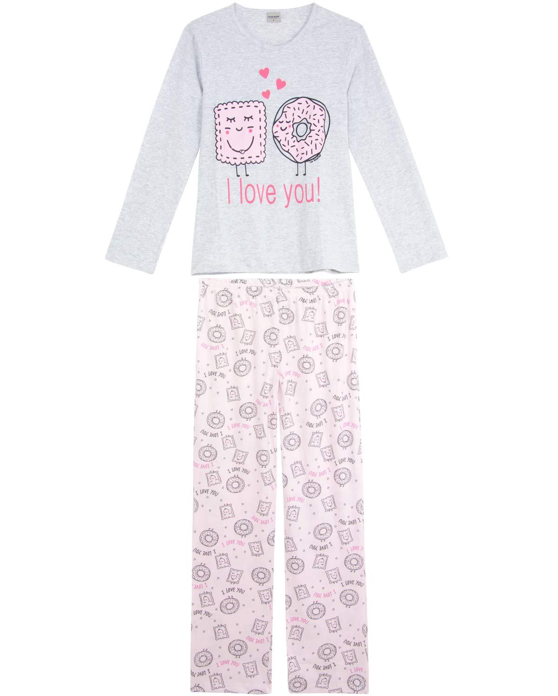 aac28f091befaf Pijama Feminino Lua Encantada Longo Algodão Donuts - Pijama Online