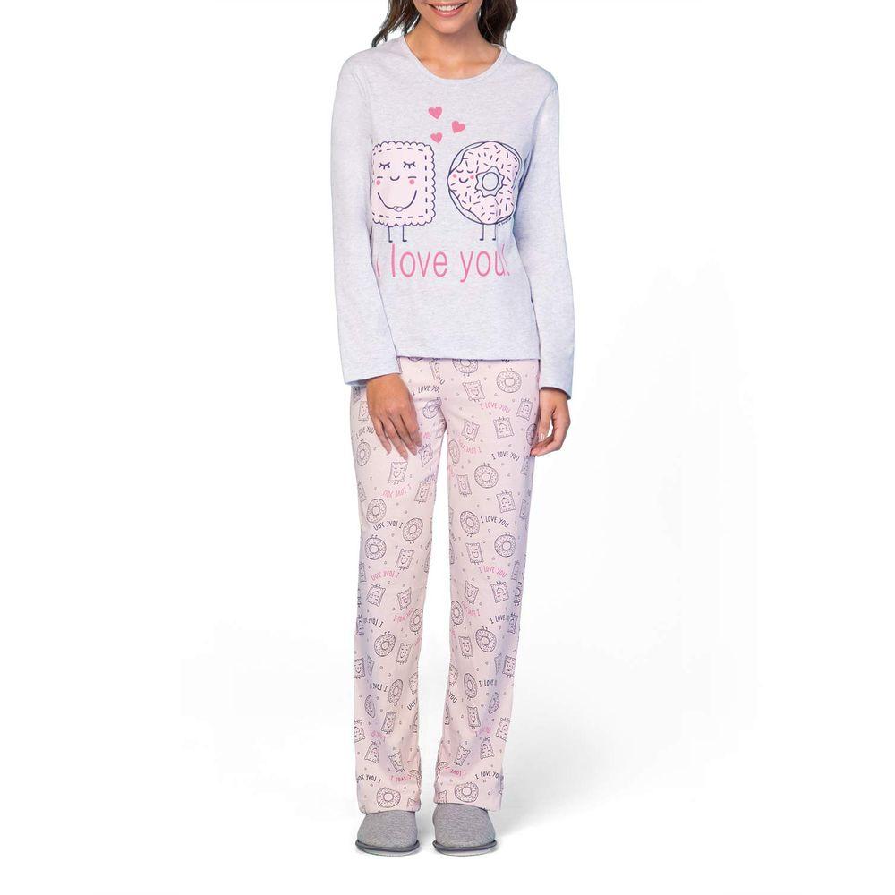 Pijama-Feminino-Lua-Encantada-Longo-Algodao-Donuts