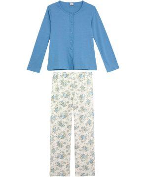 fef8a2810 Pijama Feminino Lua Encantada Aberto Calça Floral
