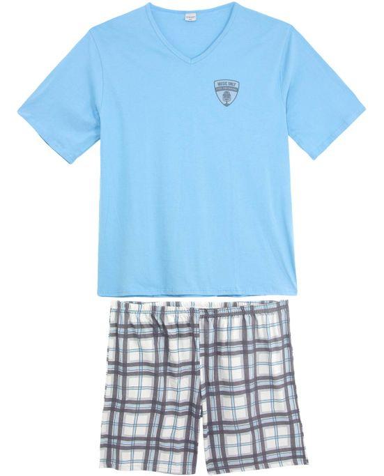 Pijama-Plus-Size-Masculino-Lua-Encantada-Short-Xadrez