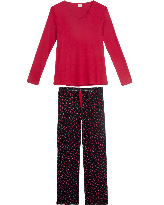 9eea741f9 Pijama Feminino Lua Encantada Viscose Calça Pimenta R$ 189,00 ou 3x de R$  63,00
