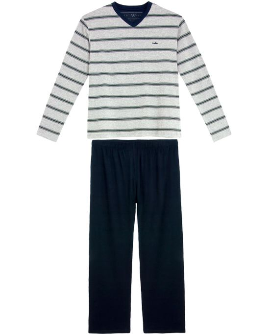 Pijama-Plus-Size-Masculino-Fits-Well-Longo-Listras