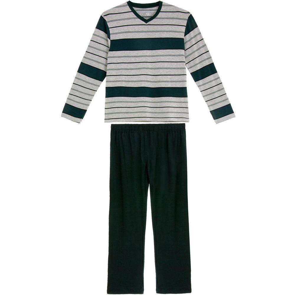 Pijama-Plus-Size-Masculino-Fits-Well-Longo-Modal-Listra