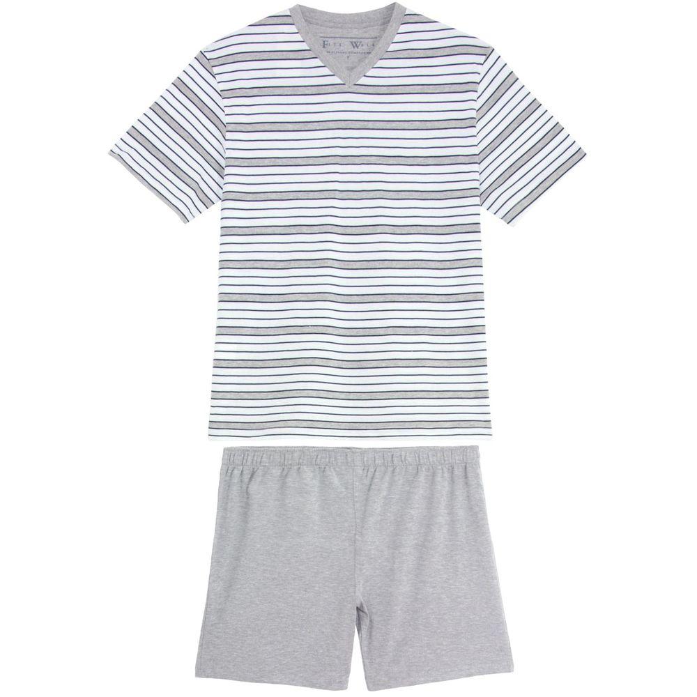 Pijama-Masculino-Fits-Well-Curto-Algodao-Listras