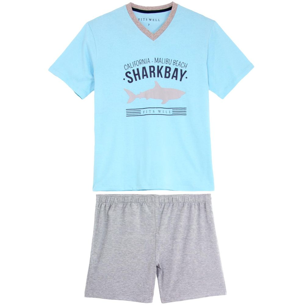 Pijama-Plus-Size-Masculino-Fits-Well-Algodao-Tubarao