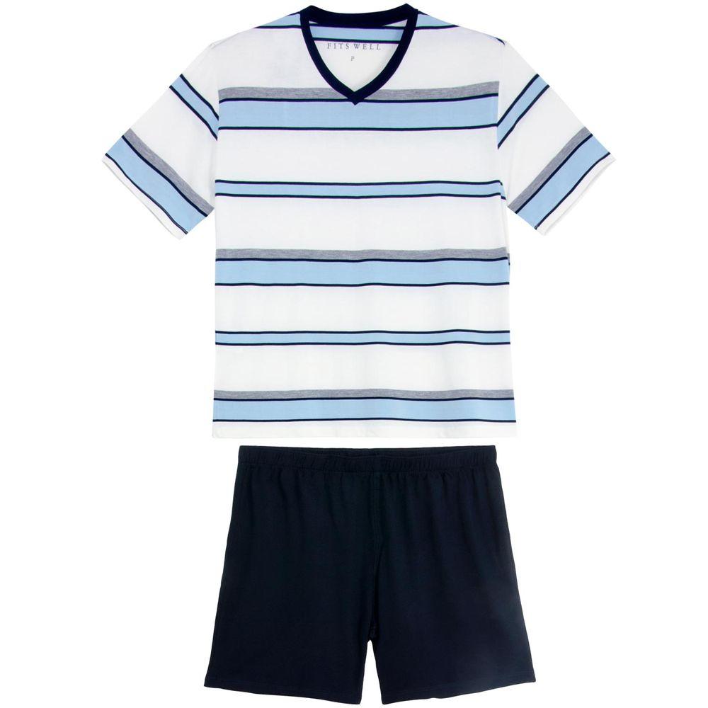 Pijama-Plus-Size-Masculino-Fits-Well-Curto-Modal-Listras