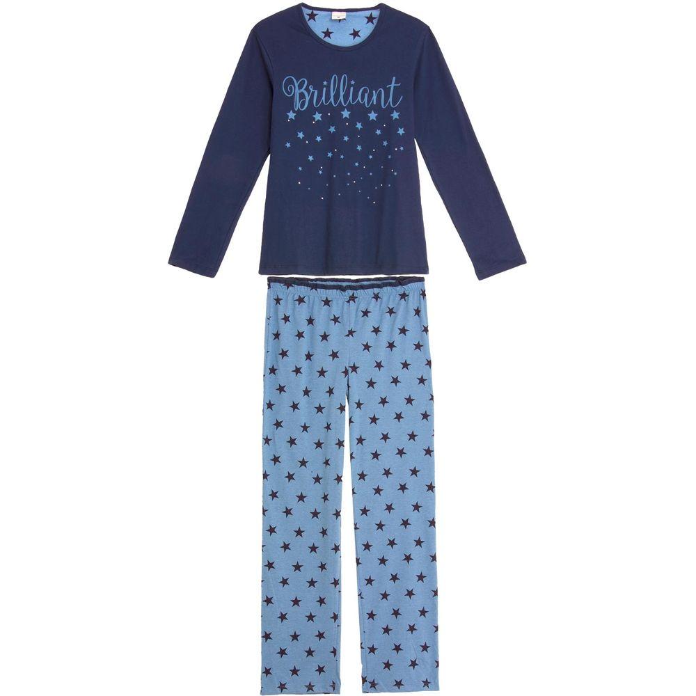 Pijama-Feminino-Lua-Encantada-Longo-Brilho-Strass