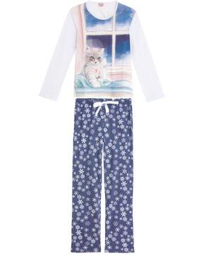 Pijama-Feminino-Lua-Encantada-Longo-Gato-Aquarela