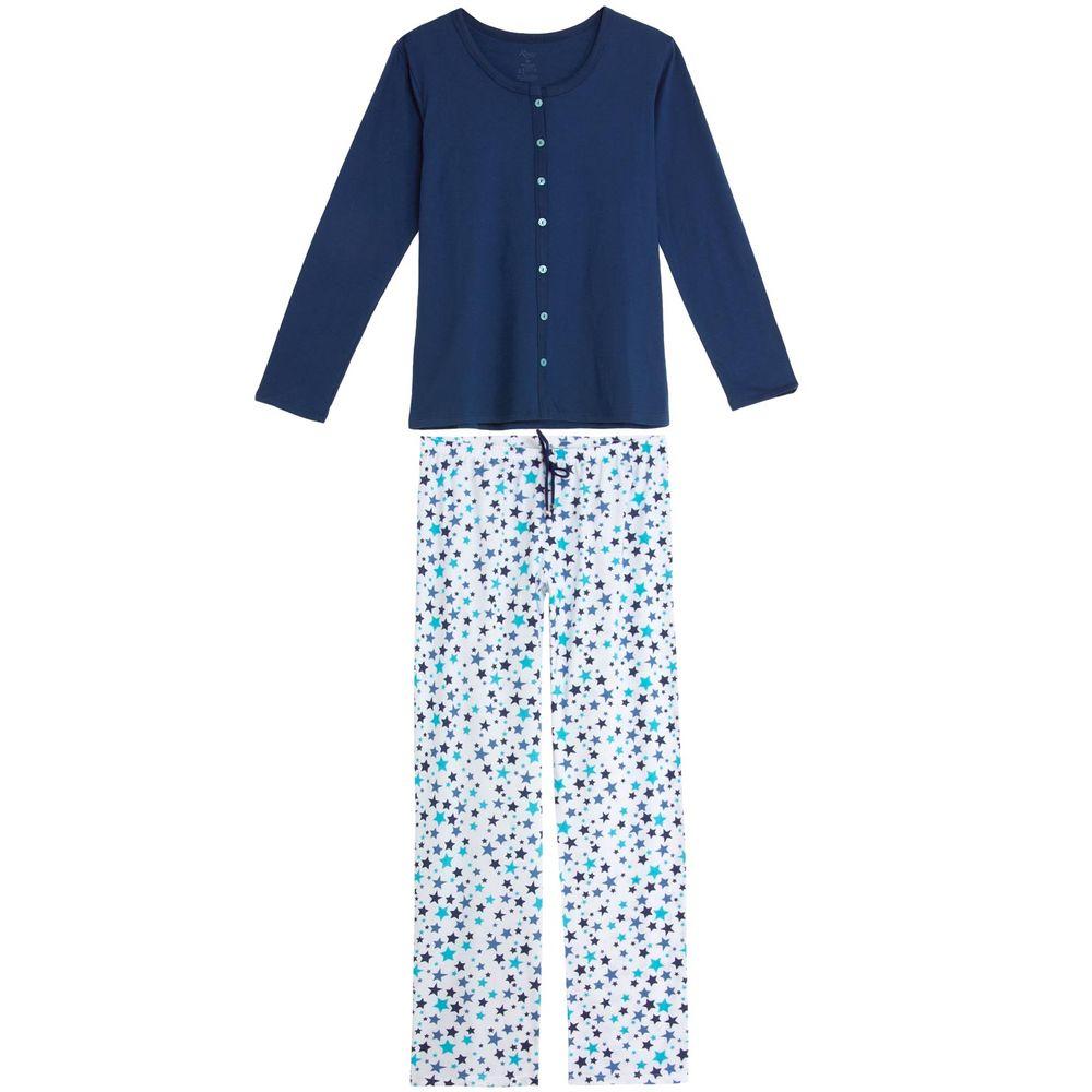 Pijama-Feminino-Recco-Algodao-Aberto-Calca-Estrelas